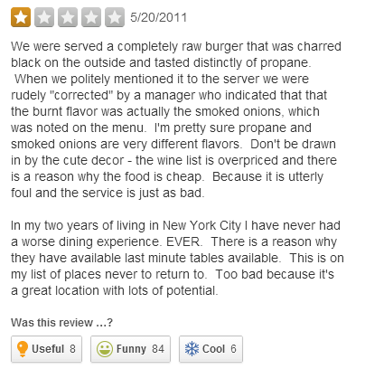 example of a good restaurant review